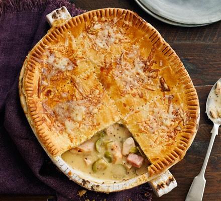 Ham, turkey & sprout pie