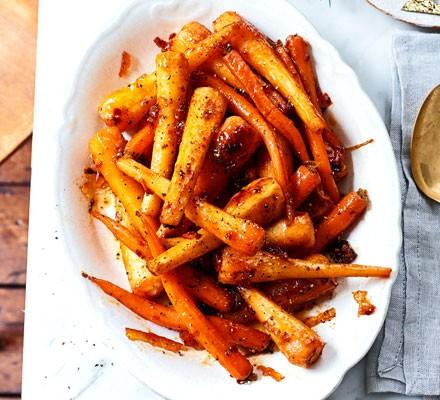 Harissa & marmalade roasted roots