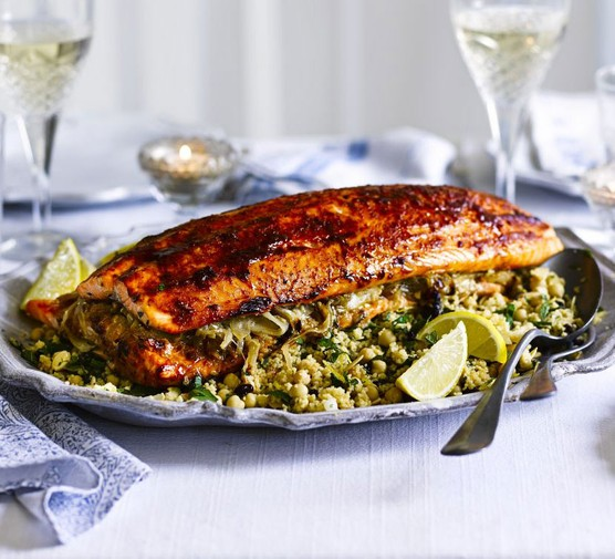 Harissa roast salmon with lemon chickpea couscous