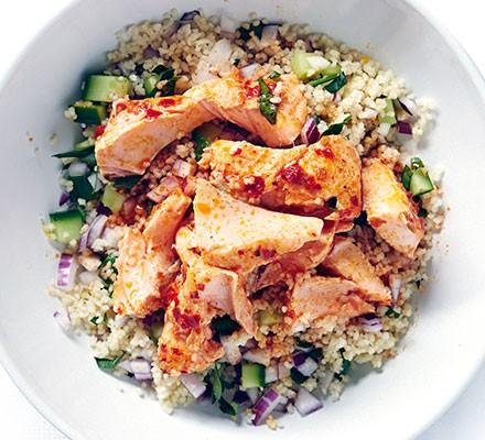 Harissa salmon with zesty couscous