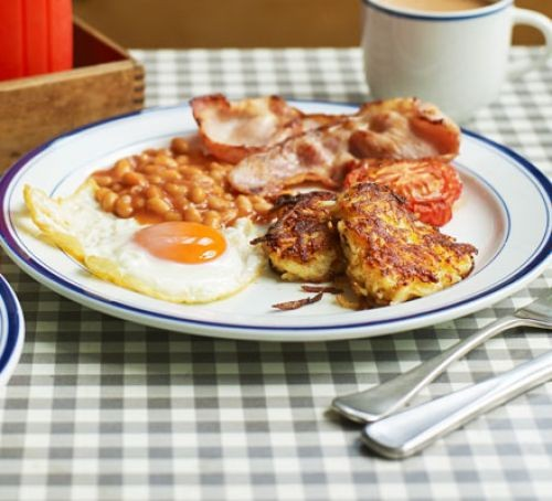 Hash browns with bacon, eggs and beans on plate