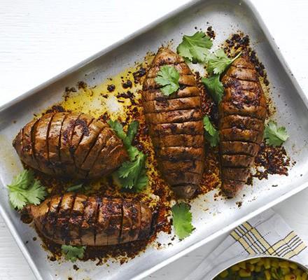 Chipotle hasselback sweet potatoes