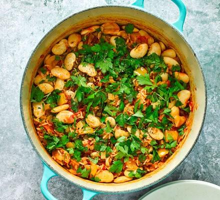 Vegan jambalaya in a pan