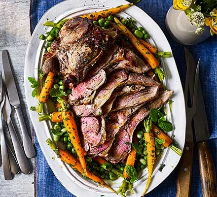 Healthy Easter lamb with vegetables on a serving plate