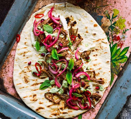 Pulled goat kebabs with coriander dressing