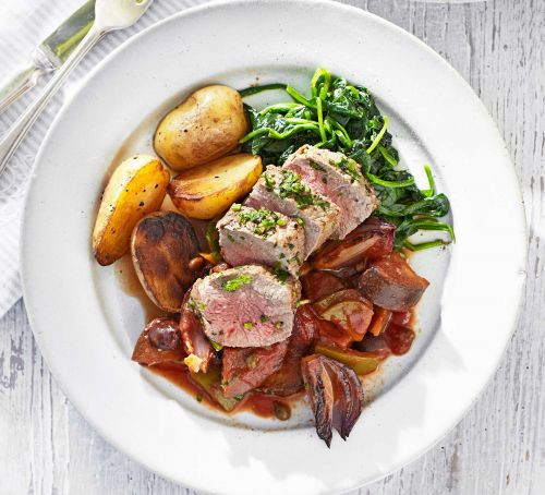 Herby lamb fillet with caponata