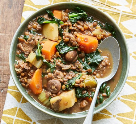 A bowl of lentil and vegetarian stew