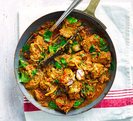Home-style lamb curry in a saucepan