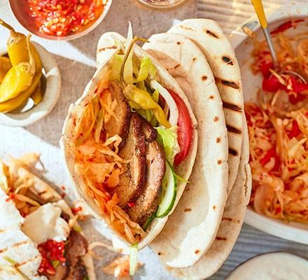 Homemade BBQ lamb doner kebab in a pitta bread
