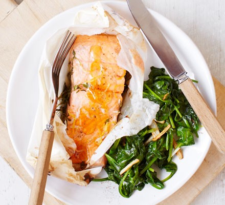 Honey & lemon trout with wilted spinach