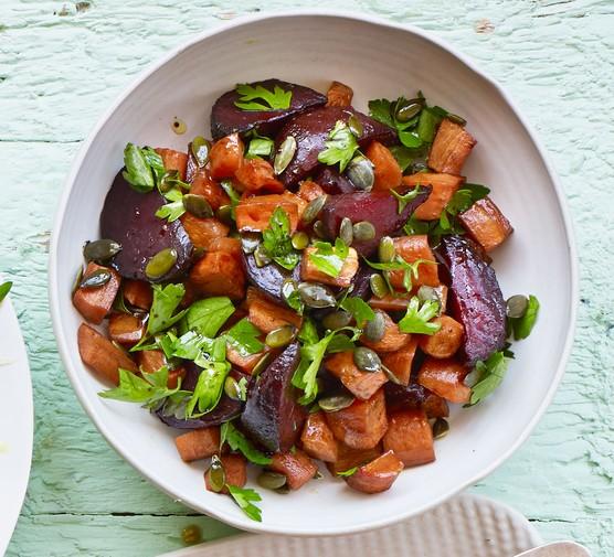 Honey-roasted beetroot & carrots