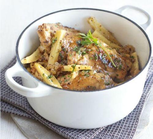 Healthy chicken thigh recipes: Honey mustard chicken pot with parsnips