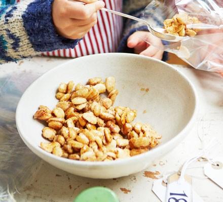 Honeyed almonds in bowl