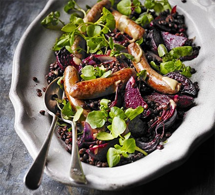 Hot mustard lentils with beetroot & spicy sausages
