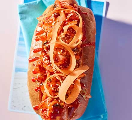 A Korean hotdog on a napkin