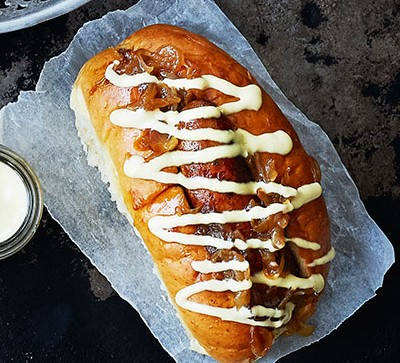 Hot dog with toppings