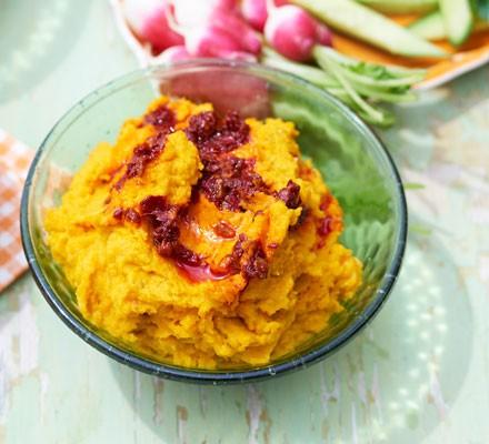 Carrot & cumin hummus with swirled harissa