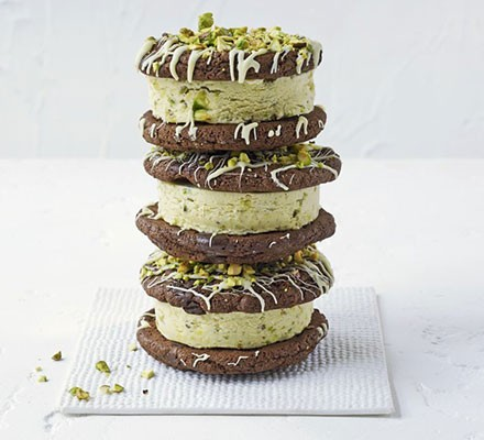 Double choc & pistachio ice cream sandwiches
