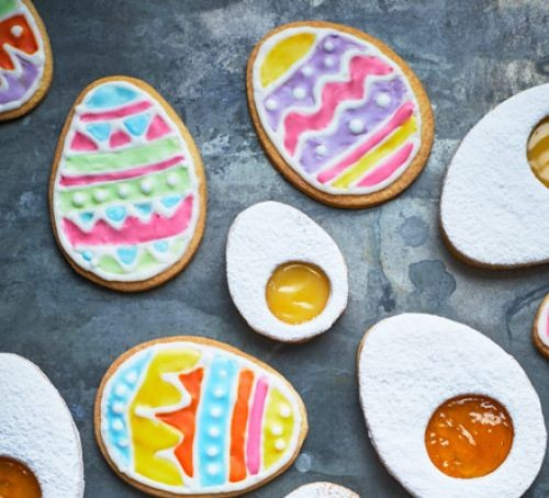 Colourfully iced Easter egg biscuits