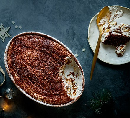 Irish cream tiramisu served in a baking dish