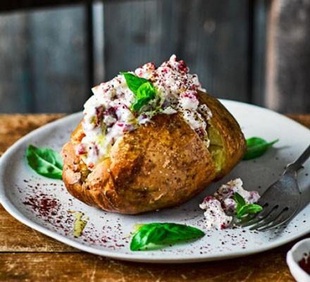 jacket potato with whipped feta on plate