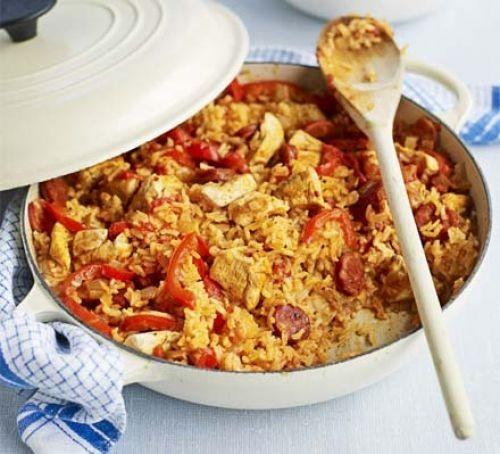 Casserole dish of chicken and chorizo jambalaya