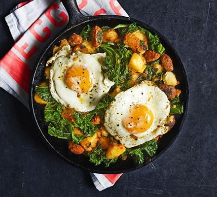 Chorizo & kale hash with a fried egg