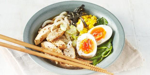 Ramen with egg and chopsticks