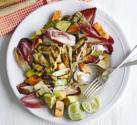 Jerk chicken salad with papaya
