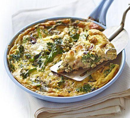 Kale Goat S Cheese Frittata Recipe Bbc Good Food