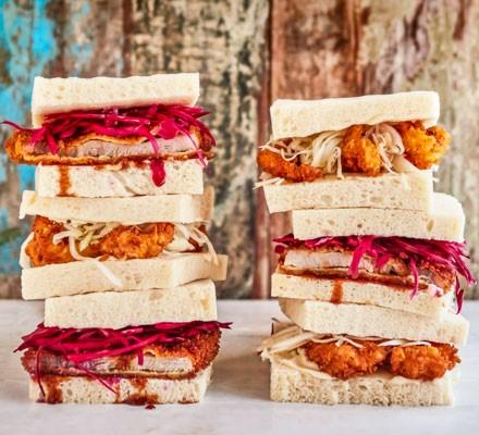 Stacked chicken katsu sandwiches
