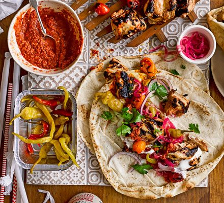 Turkish Kebabs With Tomato Chilli Sauce Recipe Bbc Good Food