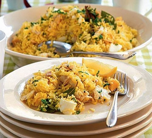 Haddock and rice kedgeree in a serving bowl and dish