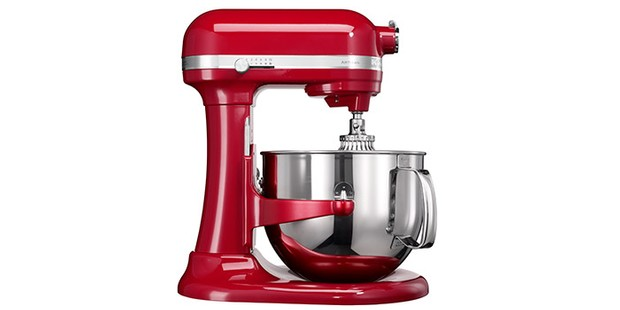 KitchenAid Artisan stand mixer in red on a white background