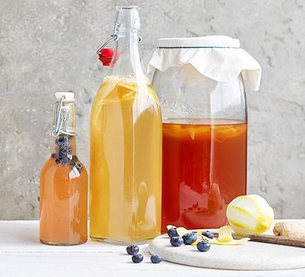 Kombucha served in bottles
