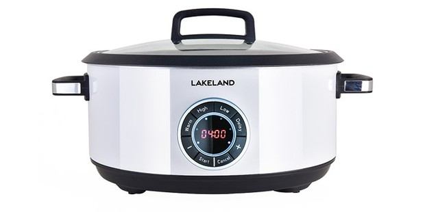 Lakeland digital slow cooker 6.5L capacity on a white background