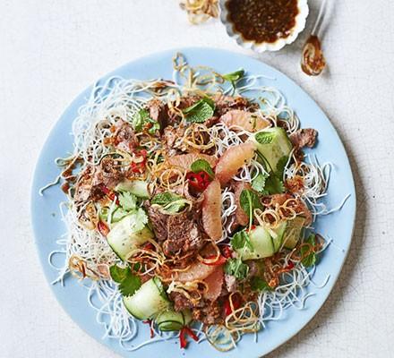 Asian lamb & grapefruit noodle salad with ginger dressing