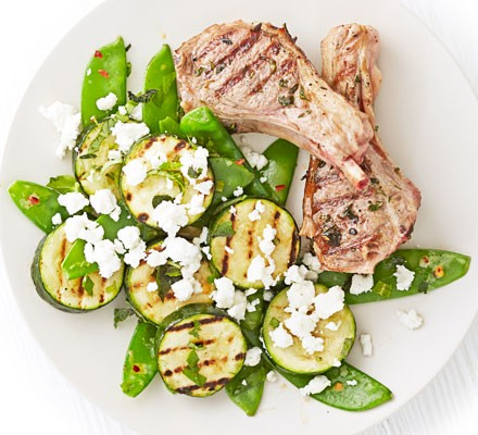 Lamb chops with griddled courgette & feta salad