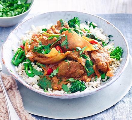 Lamb dopiaza with broccoli rice