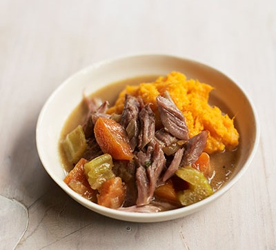 Slow-cooked lamb & veg with sweet & carrot mash