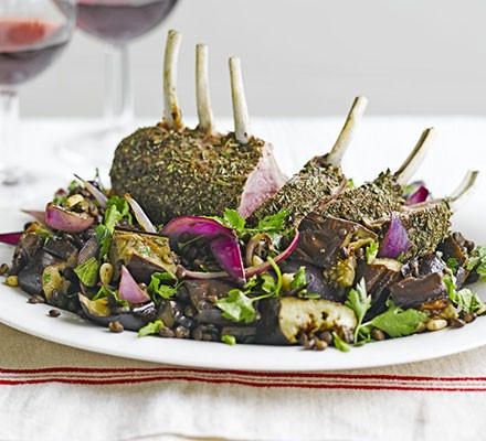 Herby lamb with roast aubergine & Puy lentils