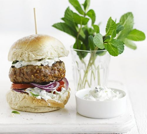 Lamb burger in a bun with mint leaves in a pot