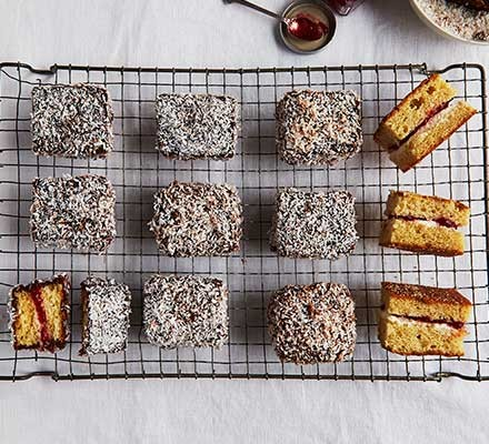 Lamingtons on a wire rack