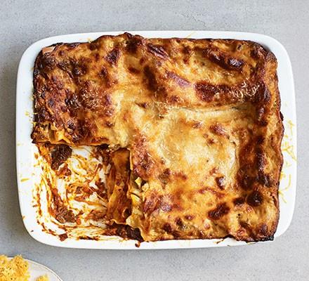 Next level lasagne served in a casserole dish