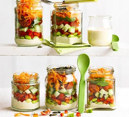 Stripy hummus salad jars