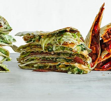 A stack of leek, bacon & mustard quesadilla