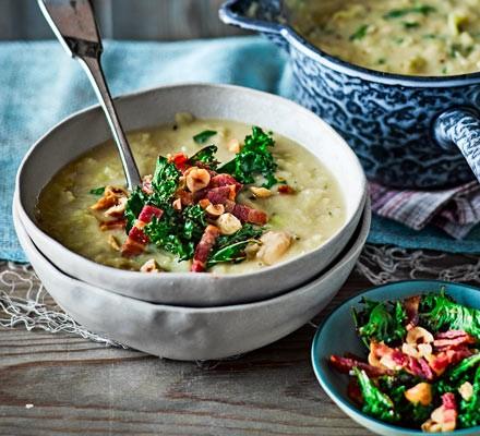 Leek & butter bean soup with crispy kale & bacon