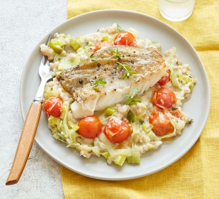 Leek Tomato Barley Risotto With Pan Cooked Cod Recipe Bbc Good Food