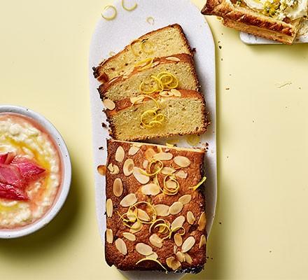 Lemon curd & orange cake cut into slices