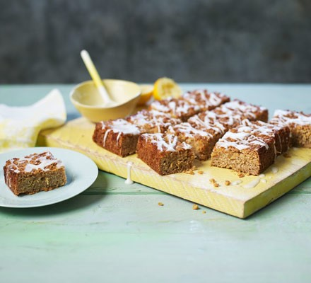 Flapjacks with icing cut into squares on board